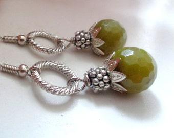Green  Earrings, Agate Earrings, Dangle Earrings
