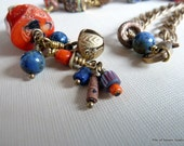 Azmari Necklace, African Ethnic Organic Beads, Blue & Orange Gemstones, Lapis Lazuli, Lg Chunk Coral, Artisan Lampwork, Brass India Bell