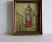 vintage framed jesus and lamb 1950s lambert products  made in usa