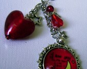 Love you to the moon and back bag charm; key ring; bag dangly; charity listing; OOAK