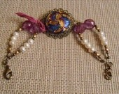 Pink and Blue Button and Pearl Bracelet Czech Glass freshwater pearls handmade
