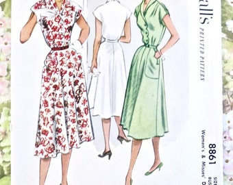 Vintage 1950s Flared Skirt Dress Pattern with Scallop Button Front and Pockets - McCalls 8861