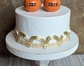 Wedding cake topper...orange mr mrs pumpkins...fall and autumn decor, ready to ship