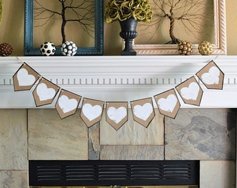 Wedding party pennant banner, ALL WHITE HEARTS, rustic celebration decor decorations
