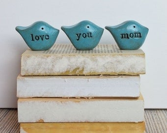 Gifts for mom / Mother's Day gift for her / 3 love you mom birds / gift for women / birds gift / gifts for mothers
