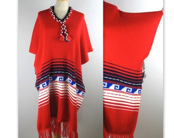 Vintage 70s Knit Poncho with a South American Indian design OS unisex
