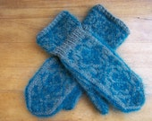 Handknit Mohair and Wool Blend Norwegian Rose Design Cuff Mittens Heather Greyish Green and Turquoise