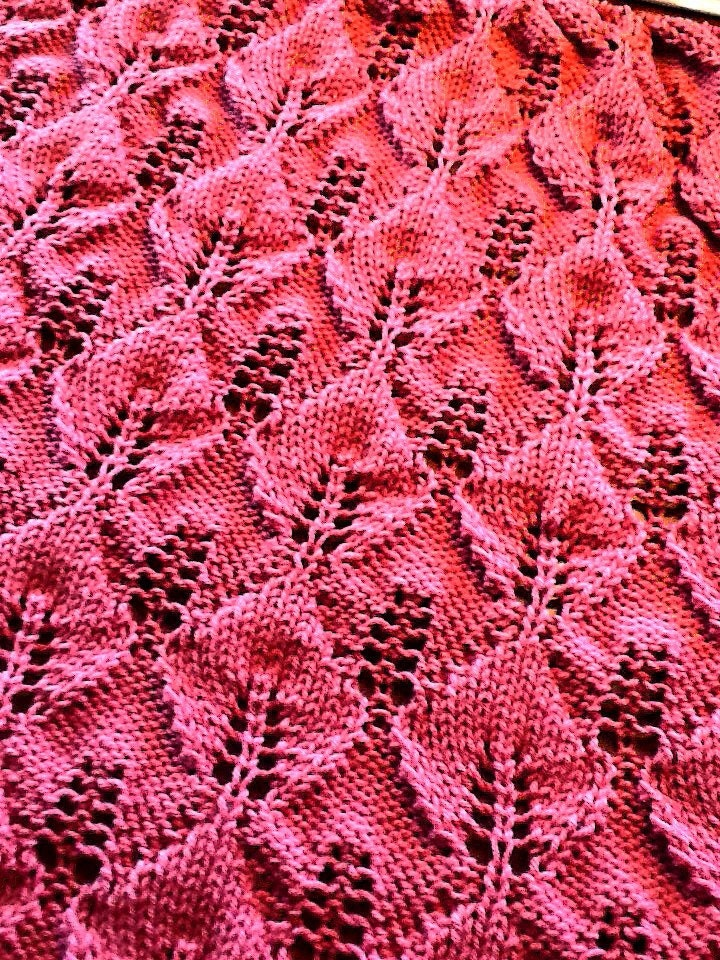 Reversible Leaf Knitting Pattern : Knitting Instructions REVERSIBLE Knitted Afghan WRITTEN ...