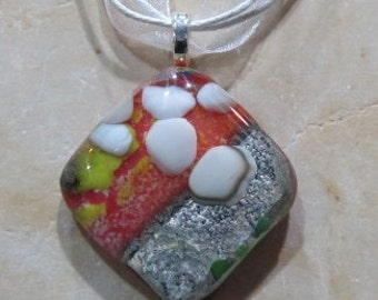 Fused Glass Pendant with ribbon necklace: Minimalist Crackle