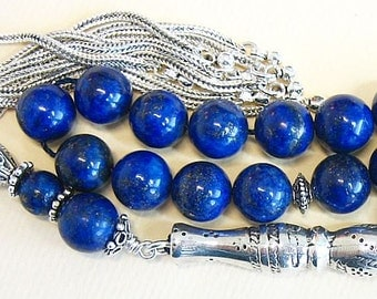 Luxury Prayer Beads Tesbih AA Grade Lapis & Sterling Silver -Top quality - Collector's