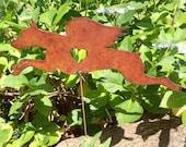 Rusty Finish Doberman Pinscher Dog Angel Memorial Garden Art Yard Stake