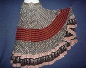 Gorgeous Red Black White Block Print Organic Vegetable dyed Pure cotton 25 Yard Skirt