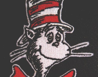 Cat in the Hat - Seuss - Embroidered Iron on Applique - Patch - 2 Sizes - FREE U.S. SHIPPING