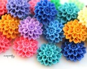 25pc dahlia resin flower cabochons /  22 colors  / 16mm resin flatback flower cabs