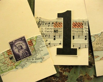 Handmade Tags with Vintage Papers (set of 4)