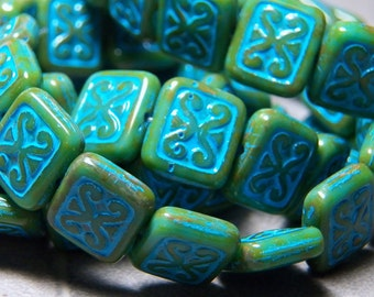 Czech Green and Turquoise Rectangle Glass Beads 12x10mm (15) 1144