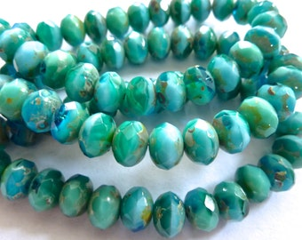 Czech Turquoise & Green with Picasso 4x6mm Glass Rondelle Beads (25) 0768-P