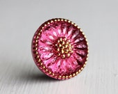 Fuchsia/Gold 18mm Czech Glass Button Metal Shank