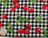 Red CHERRIES Cherry Black and White Check Robert Kaufman FRUIT Basket - Cotton Quilt Fabric by the Yard, Half Yard, or Fat Quarter