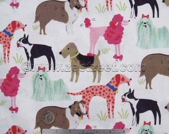 WHITE PEDIGREE DOGS Blend Fabrics Best In Show Cotton Quilt Fabric by the Yard, Half Yard, or Fat Quarter Dog Pup Puppy Canine