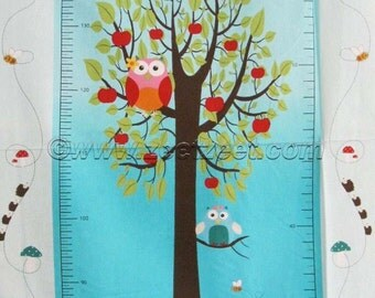 """OWL Growth CHART Aqua Quilt PANEL of Fabric Stof - 24"""" x 45"""" Inches and Centimeters (61cm x 112cm) Measure & Record Child's Height"""