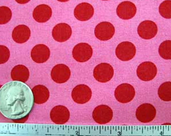 TA DOT Pink Raspberry Cotton Quilt Fabric - PRECUT Remnants Sizes as listed - Michael Miller Polka Dot Red