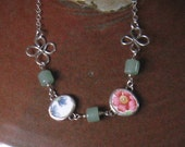 Vintage Broken China, Ceramic Shard Necklace, Sterling Silver, Stone Bead, Petite Flowers