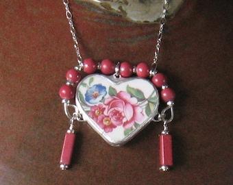 Vintage Broken China Ceramic Shard Necklace, Sterling Silver, Glass Beads, Summer Flowers