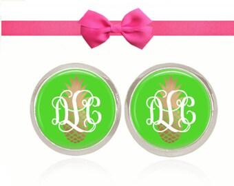 Monogram Earrings, Gold Pineapple Earrings, Green Earrings, Studs, Post, Monogram Jewelry, Gift, (Pineapple On Green - Stud Earrings)