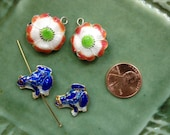 Cloisonne Beads - 4 pieces - Flower - Frog - 2 Pair