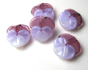 PANSY BEADS Artisan Lampwork Glass Flowers in purple handmade supplies