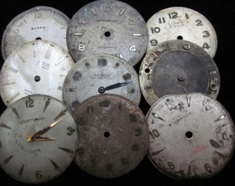 Vintage Antique Watch Dials Steampunk  Faces Parts Altered Art Industrial  L 27