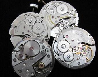 Vintage Antique Round Watch Movements Steampunk Altered Art Assemblage Q 11