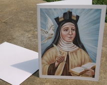 Saint Teresa of Avila Stationary Card, 4.3/8 by 5.75 Envelope, Print from my Original Acrylic Painting on 80 lb card stock, White and Ivory