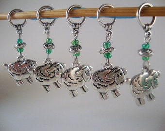 Sheep Knitting Stitch Markers Ram Lamb Ewe Flock of Sheep Charm Set of 5/SM01B
