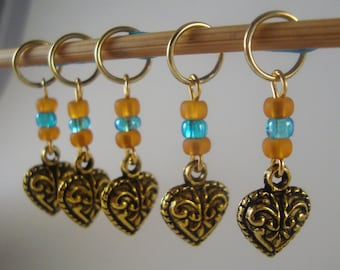 Heart of Gold Knitting Stitch Markers Baroque Heart Gold tone Set of 5/SM167