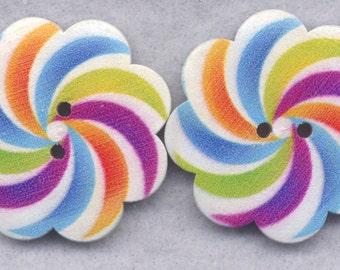 Striped Flower Wood Buttons Wooden Buttons 37mm (1 1/2 inch) Set of 4/BT525