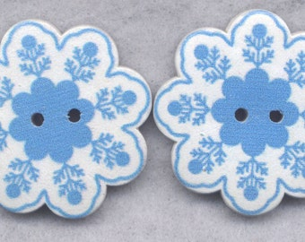 Snowflake Flowers Wood Buttons Wooden Buttons 36mm (1 1/2 inch) Set of 2/BT314