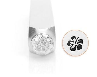 Hibiscus Design Stamp, Metal Stamp, 6mm, SC1514-D-6MM, Carbon Steel Design Stamp, ImpressArt Design Stamp, Flower Design Stamps