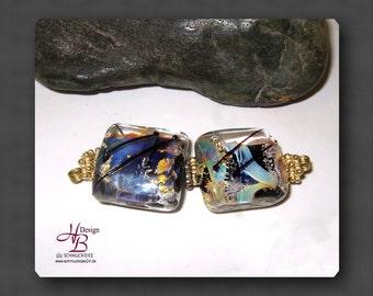 2 burning opal , Bead set, lampwork, Beads, Flowers, SRA