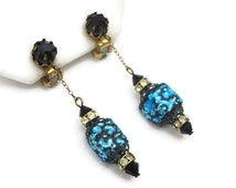 Foil Glass Earrings - Blue and Black Dangles, Clip Earrings, Costume Jewelry, Square Beads, 1960s