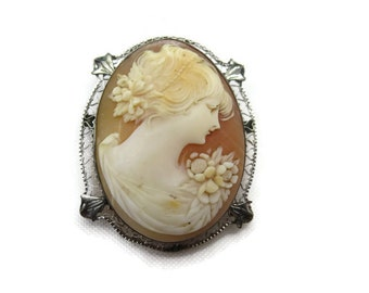 Antique 14k White Gold Cameo - Fine Jewelry