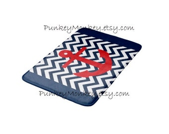 Nautical bath mat chevron anchor memory foam bathroom mat for floor 3 sizes to choose from made to order