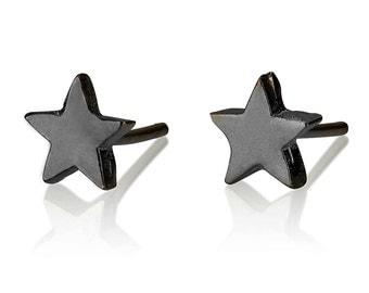 Black Star Earrings , Silver Star Stud Earrings , Cute Earrings , Oxidised Silver Stud Earrings , Tiny Star Earrings , Charm Earrings