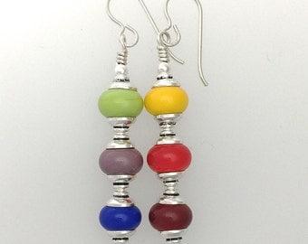 Gay Pride Lamp Work and Sterling Silver Earrings