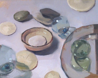 "Art painting still life glass floats ""The Mirror Plate"" by Oregon artist Sarah Sedwick 9x12"""