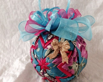 Teal Fuschia and Gold Quilted Star Christmas Ornament