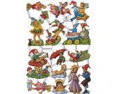 Germany Paper Scraps Lithographed Die Cut Butterfly Gnomes And Elves  7010