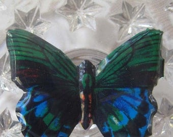 Vintage Japan Original Tin Butterfly Pin Colorful and Mint Condition 1960s