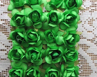 Paper Millinery Flowers 24 Small Handmade Roses In Grass Green